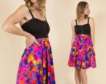 Vintage 1960s Purple & Pink Fluorescent Abstract Floral Circle Skirt // Mini Skirt