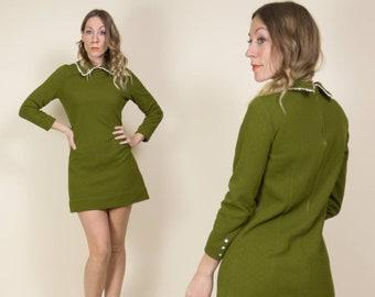 Vintage 1960s Dark Avocado Green, Collared, White Lace Mini Shift Dress