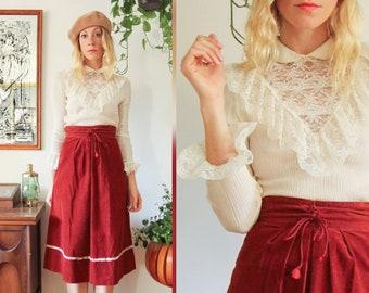 77acf11a12647 Brick red skirt | Etsy