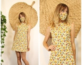 Vntg 1960s Micro Floral, Cotton, Mini Shift Dress with Matching Mask