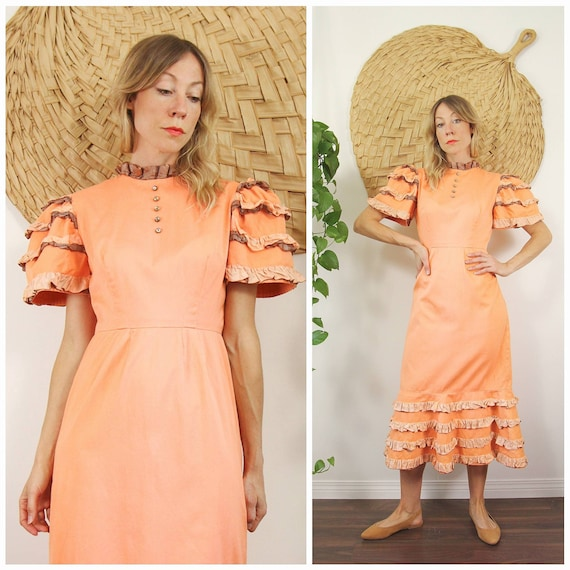 Vntg 1960s Coral Pink, Ruffle, Puff Sleeve Cotton