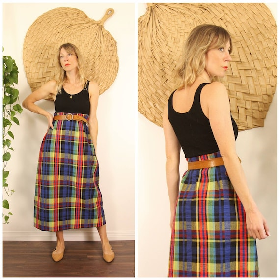 Vintage 1970s Handmade Rainbow Plaid Maxi Skirt