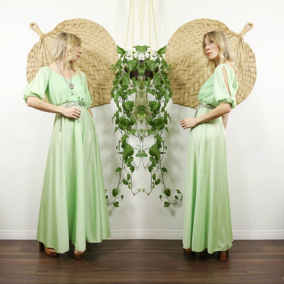 1970s Chartreuse Green Maxi Dress