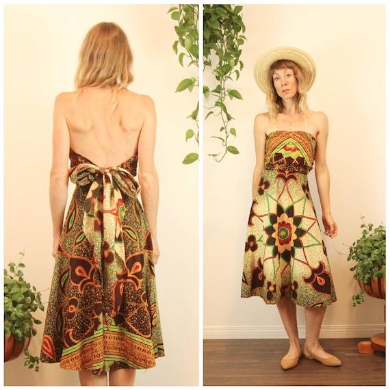 Rare 1950s Convertible Batik Cotton Wrap Dress //