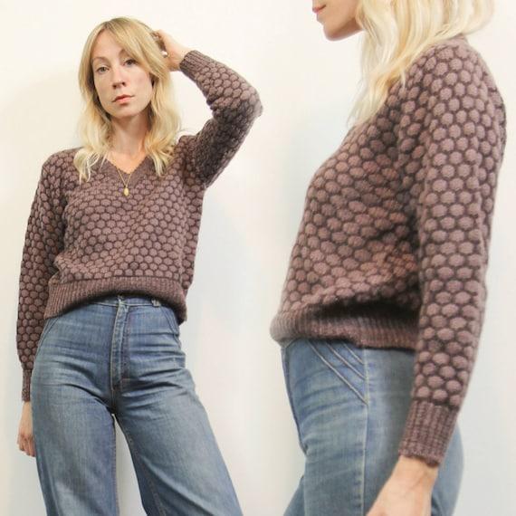 Vintage 90s Mauve Purple, Textured knit pullover