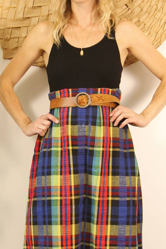 Vintage 1970s Handmade Rainbow Plaid Maxi Skirt - image 2