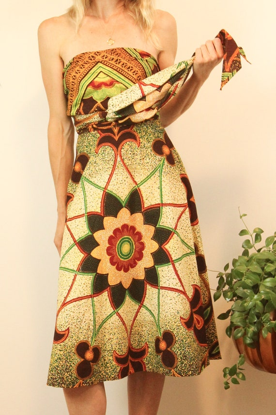 Rare 1950s Convertible Batik Cotton Wrap Dress //… - image 6