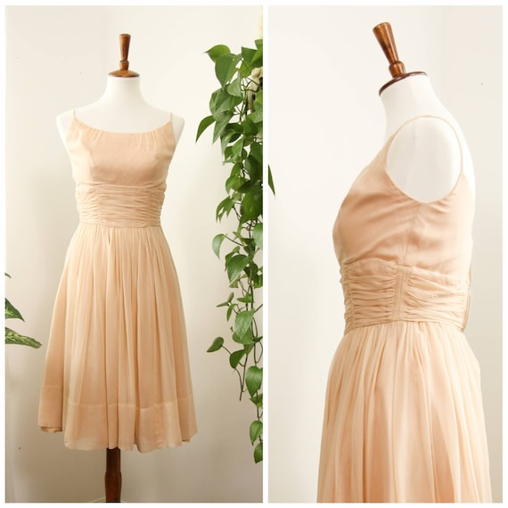 Vintage 1950s Blush Pink Chiffon Evening Party Dre