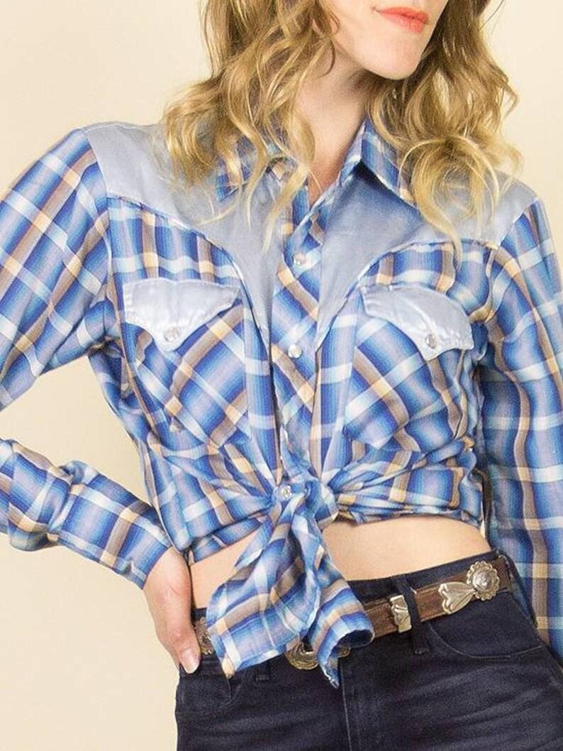 Vintage 1970s Baby Blue Satin /& Plaid Western Button up Blouse  Unisex Western Blouse