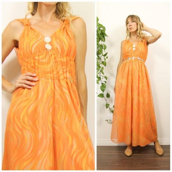 Vintage 1960s Orange Swirl, Retro Psychedelic Ling