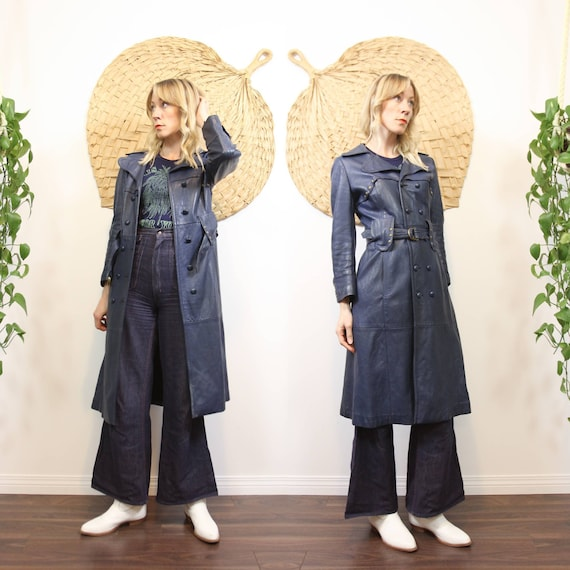 1970s Blue Leather Trench with Brass Studs