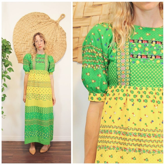 Vintage 1970s Green & Yellow Prairie Dress
