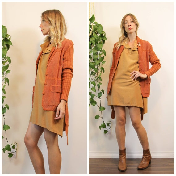 1970s Sandstone Orange Suede & Knit Sweater Jacket