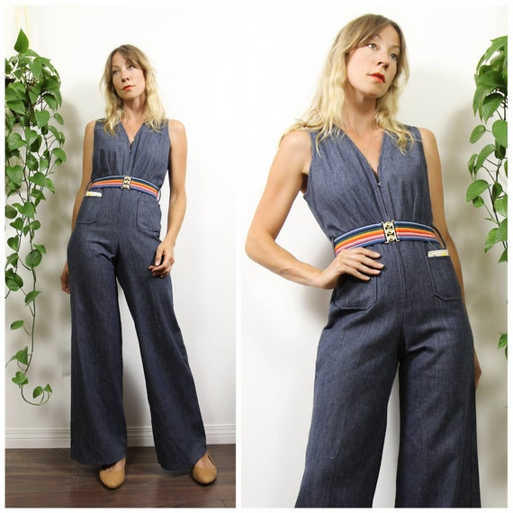 1970s Deadstock Vintage Denim, Bell Bottom Jumpsui