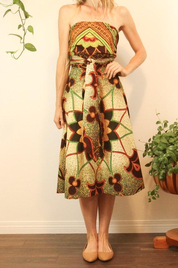 Rare 1950s Convertible Batik Cotton Wrap Dress //… - image 4