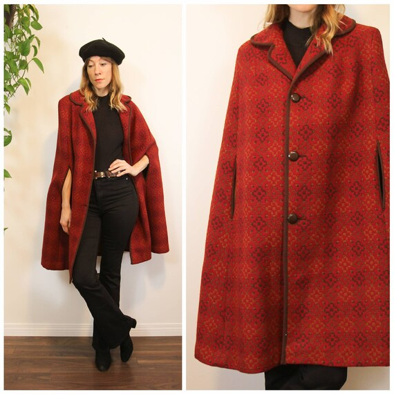 1960s Red & Brown Welsh Wool, Tapestry Cape Coat