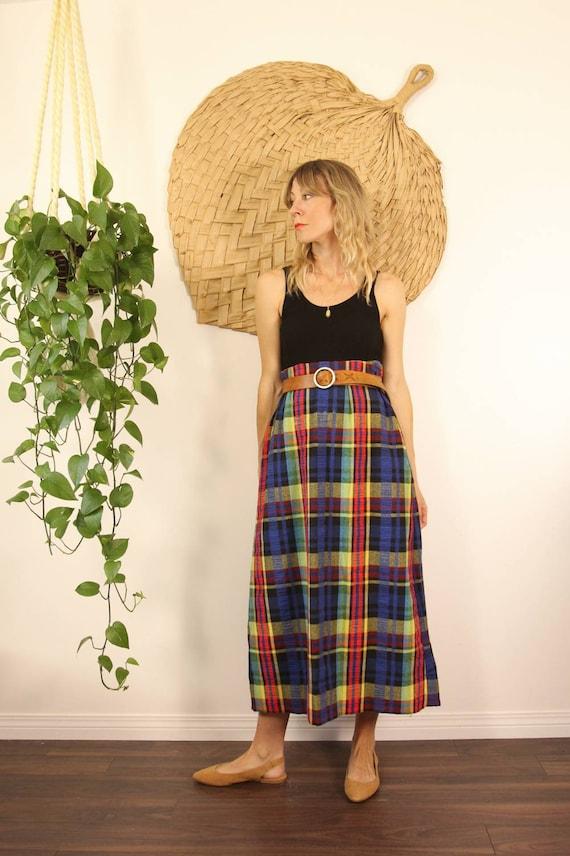 Vintage 1970s Handmade Rainbow Plaid Maxi Skirt - image 8