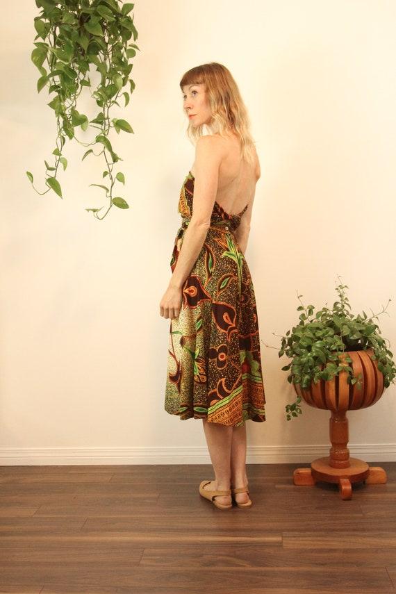 Rare 1950s Convertible Batik Cotton Wrap Dress //… - image 5