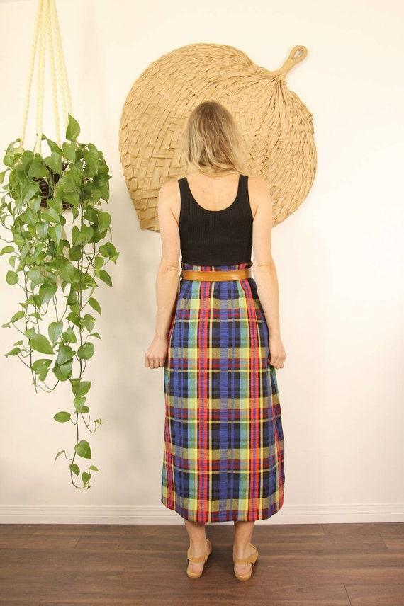 Vintage 1970s Handmade Rainbow Plaid Maxi Skirt - image 5