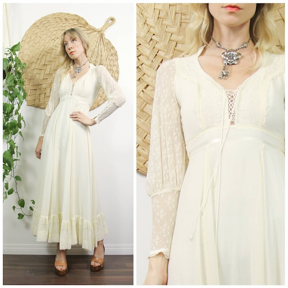 1970s Lace Sleeve & Cotton Gauze Gunne Sax Dress