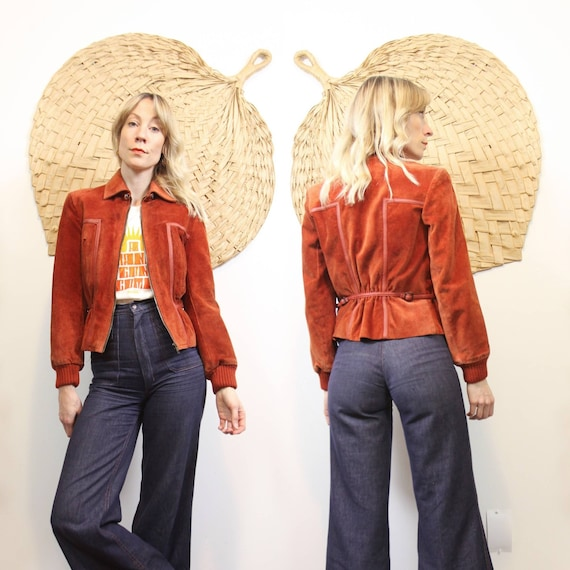 1970s Rusted Red Suede Crop Jacket