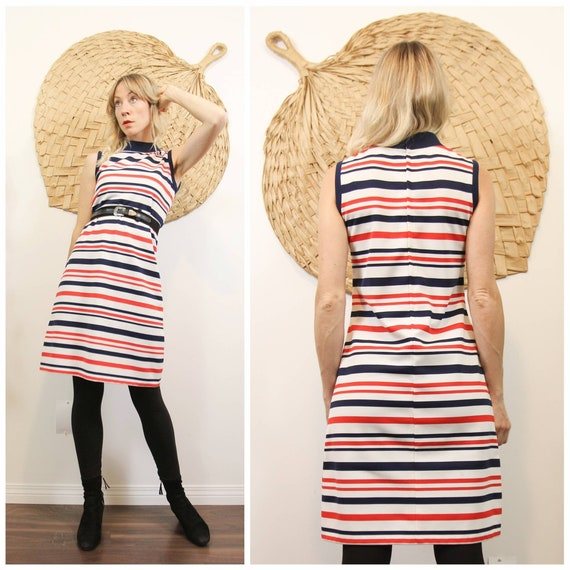 1960s Mod Stripe Shift Dress