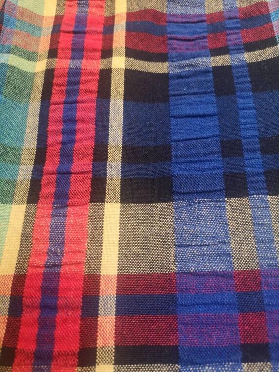 Vintage 1970s Handmade Rainbow Plaid Maxi Skirt - image 9