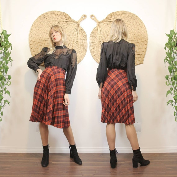 1970s Red Plaid, Micro Pleated Circle Skirt