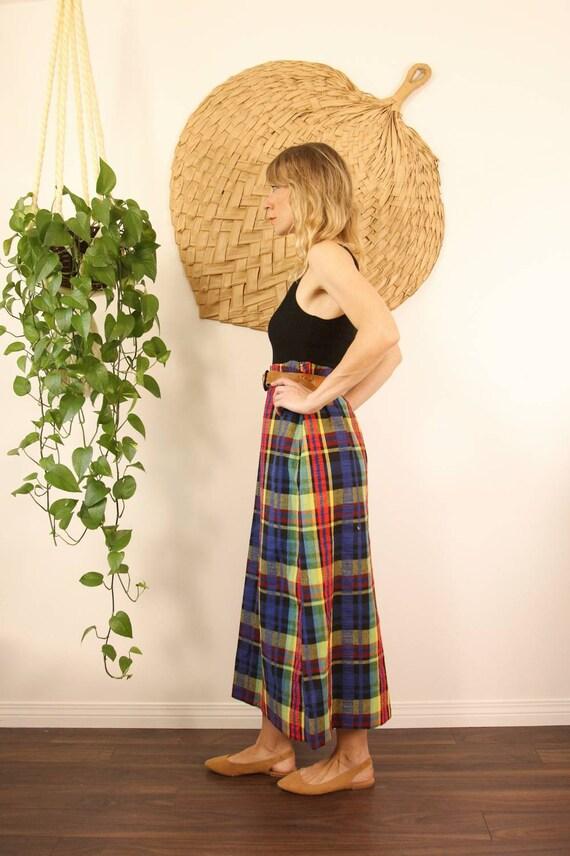 Vintage 1970s Handmade Rainbow Plaid Maxi Skirt - image 3