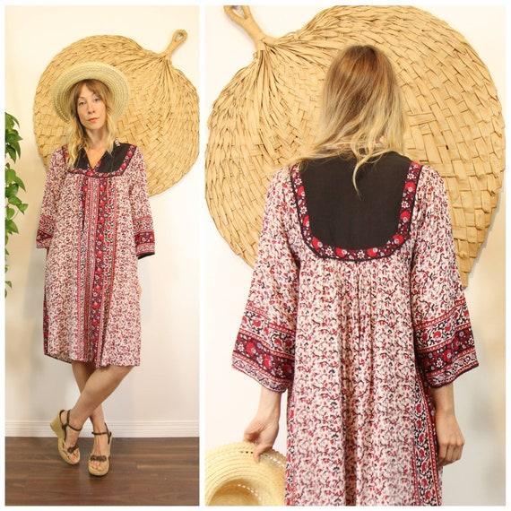 Vntg 70s Indian Cotton Gauze Bohemian Summer Dress