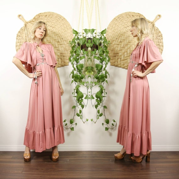1970s Dusty Rose Two Piece Dress Set with Matching