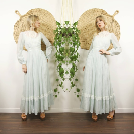 1970s Powder Blue Gunne Sax Prairie Dress
