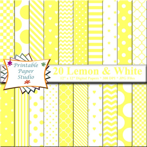 Lemon Yellow Digital Paper Pack 12x12 Yellow Scrapbook Paper Etsy