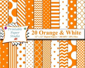 Orange Digital Paper Pack, 12x12 Scrapbook Paper, Orange Paper Instant Download Digital File for Scrapbooking, Orange Patterned Paper