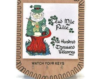 Vintage Irish Tile Mounted on Wooden Plaque Key Holder, Home Organization, Keys
