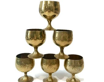 Small Faux Brass Metal Cups / Goblets, Set of 6 Pieces, Small Chalices for Decorative Use