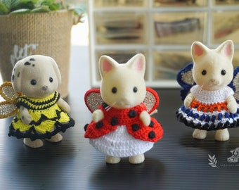 Calico Critters Crochet Clothes/ Sylvanian Families Crochet Clothes/ Outfit for Sister Made to Order #4026