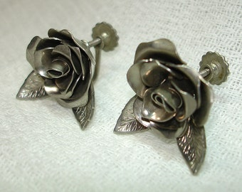 21282e7e5 Vintage Coro Costume Silvertone Roses Screw Back Earrings - Free Shipping  within the U.S.