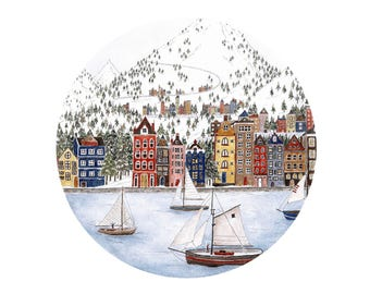 Village by the Sea- Fine Art A4 Giclee Print