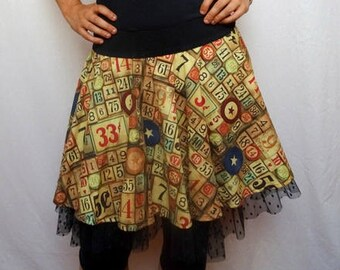 Dancer sepia pattern and mesh ruffle skirt