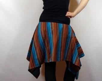 Jupe asymétrique tissu style bolivien  Jupe bohème à rayures 59882fc0bcb