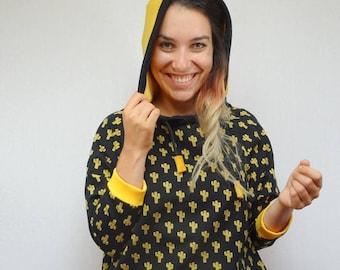 women's mustard yellow cactus print Hoodie