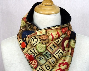 adult cowl printed numbers and sepia numbers