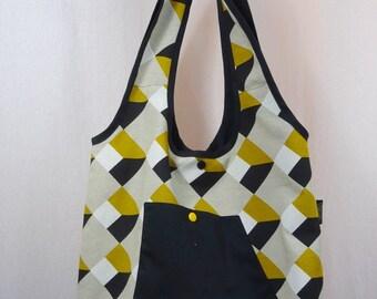 Sac en toile à motif géométriques jaune moutarde