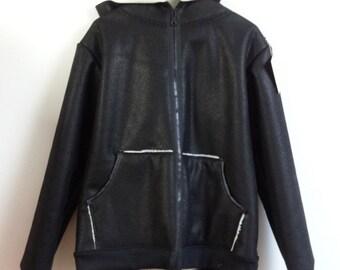 Sheepskin men hooded jacket