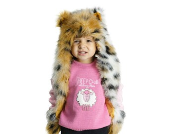 7aafec307 Childrens Tiger Faux Fur Animal Hat with Scarf Paw Pockets. READY TO  SHIPPING!