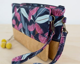 Flowering gum wristlet purse. Phone clutch. Floral clutch wallet. Bridesmaid gift. Wristlet handbag. Hands free purse. Navy clutch.