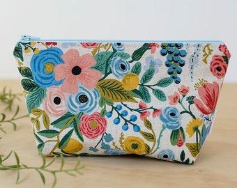 275620a10c Rifle Paper Co makeup bag. Floral zipper pouch. Toiletry bag. Pencil case.  Waterproof pouch. Wet bag. Small cosmetic case. Makeup bag.