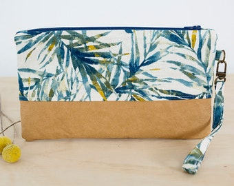 Tropical clutch bag. Wristlet purse. Phone clutch. Plant lover gift. Washable paper clutch.  Wristlet wallet. Vegan leather bag