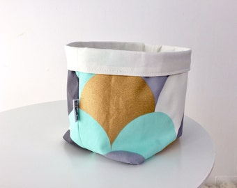 Fabric storage basket - mint, gold and grey scallops. Reversible basket, baby shower gift, bathroom storage, nursery storage, fabric pouch